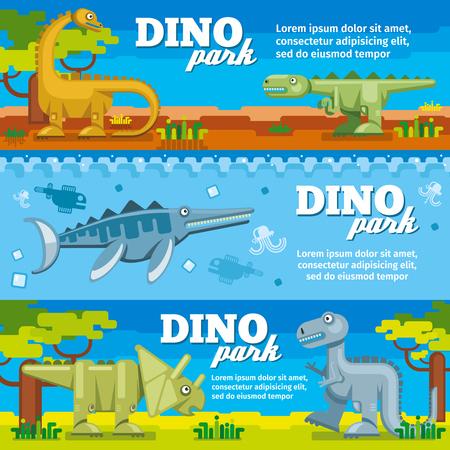 amusement: Dinosaur horizontal banners set in flat design style. Dino park with animal prehistoric, vector illustration Illustration