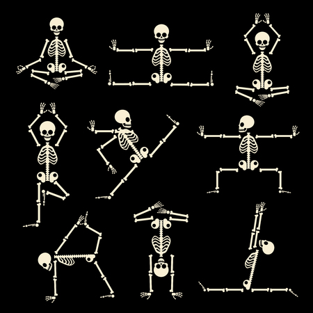 Kung fu and yoga skeletons set. Human pose anatomy, body comic, healthy fitness, vector illustration