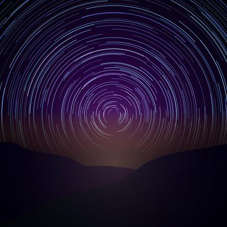 스타 산책로와 밤 하늘. 벡터 은하수 배경입니다. 천문학 시간, 자연의 아름다움 자연 그림 일러스트