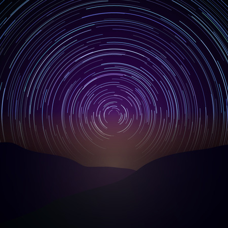 Night sky with star trails. Vector Milky Way background. Astronomy time, natural beauty nature illustration Illustration