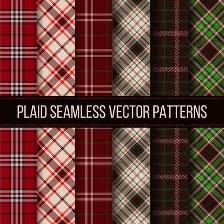 gingham: Lumberjack plaid, buffalo check, gingham seamless patterns set. Fashion textile cloth, plaid fabric, vector illustration