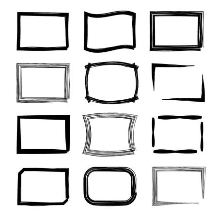 Cadres rectangulaires. stylo-feutre et un jeu de style de marqueur. modèle photo art vide, galerie vide, illustration vectorielle