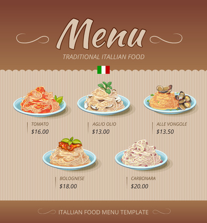 Pasta restaurant menu. Italian cook, tomato and bolognese, alle vongole, aglio olio illustration. Vector design template