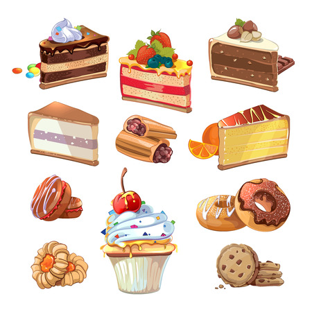 chocolate cake: Pastry set in cartoon style. Food cake, sweet bakery, tasty snack with cream, vector illustration