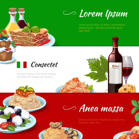 italian: Italian food horizontal banners set. Cuisine and pasta, italy, nutrition cheese macaroni, culinary traditional culture, vector illustration Illustration
