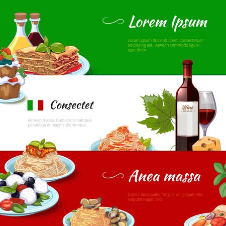 comida italiana: La comida italiana banners horizontales fijados. Cocina y pasta, Italia, nutrición macarrones con queso, la cultura culinaria tradicional, ilustración vectorial Vectores