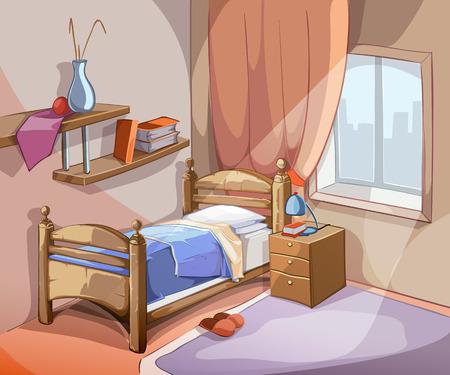 interni Camera da letto in stile cartone animato. progettazione di mobili letto appartamento al coperto. illustrazione di vettore