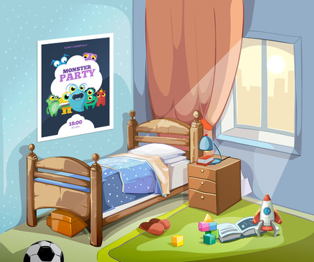 Childrens bedroom interior in cartoon style with football ball and toys. Vector illustration Stock Illustratie