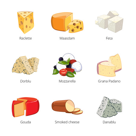 Various types of cheese in cartoon vector style. Mozzarella and raclette, maasdam and feta, dorblu and grano padano, danablu illustration Ilustração