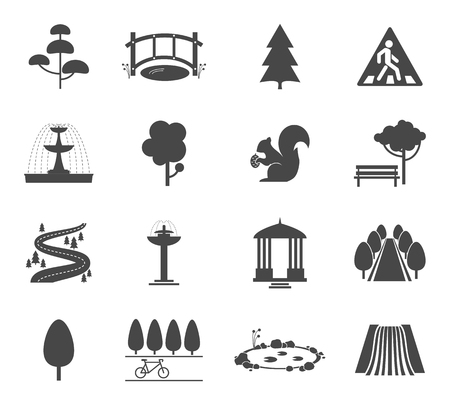 fountains: Park icons vector set. Symbol tree, nature wood, plant and environment illustration Illustration