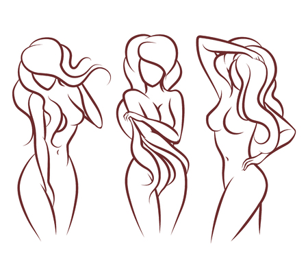young girl nude: Beautiful woman vector silhouette. Beautiful girl body, Illustration