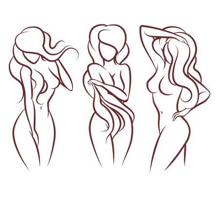 junge nackte mädchen: Schöne Frau, Vektor-Silhouette. Schöne Mädchen Körper,