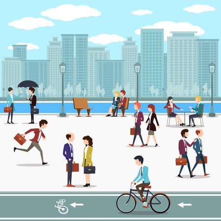 ビジネスの人々 は、通りとスカイラインの高層ビルの背景の上を歩きます。建物は都市、スカイライン、ダウンタウン、ベクトル イラスト