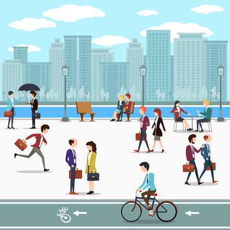 road vehicle: Business people walking on the street and skyline skyscrapers background. Building urban city, skyline and downtown, vector illustration
