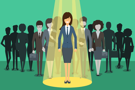 Businesswoman in spotlight. Picking the right candidate professional concept background. Leadership standing boss, executive profession, vector illustration