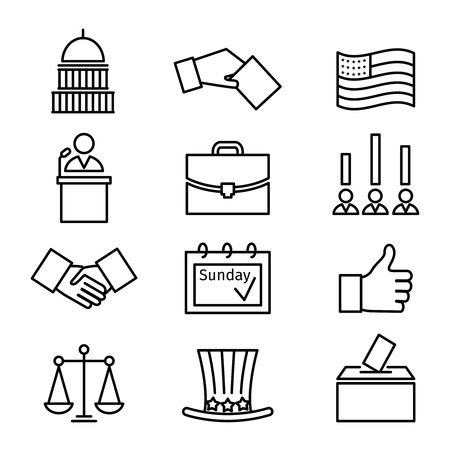 vote: Voting and elections linear icons. Government political, ballot politics, candidate speech, vector illustration