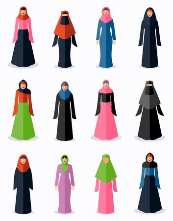 arab adult: Muslim woman flat icons. Female traditional culture, arabic islam religion, vector illustration