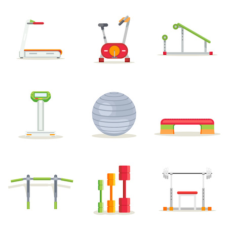 Fitness gym exercise equipment for workout in flat style. Icons set. Treadmill and barbell, platform and bar, running and bicycle, vector illustration Illustration
