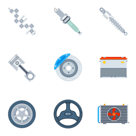 spare: Car spare parts flat icons. Tool and repair, design motor and wheel illustration vector