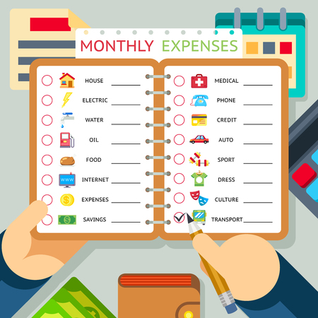 expenses: Monthly expenses, costs and income infographics template. House and credit, transport and internet. Vector illustration