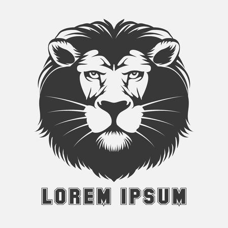 cabeza: León elemento logotipo. pista rey de los animales, emblema de la fauna, ilustración vectorial