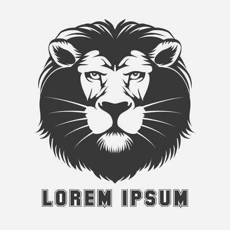 Lion logo element. Animal king head, wildlife emblem, vector illustration