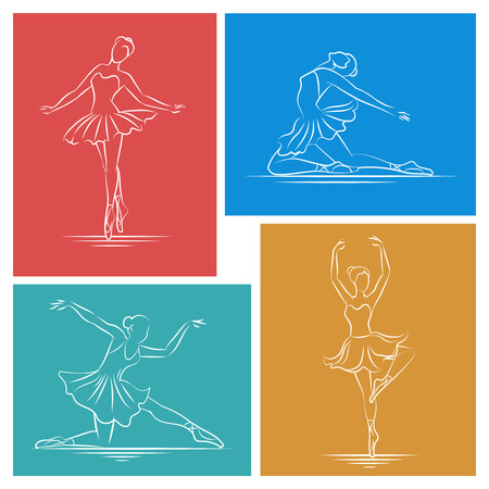 body line: Ballerina hand drawn set. Exercise dancer, body line graceful, dance pose girl, vector illustration
