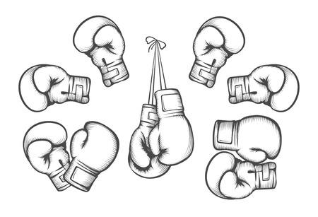 Boxerské rukavice. Zařízení pro boj soutěže, visí a rukou. vektorové ilustrace