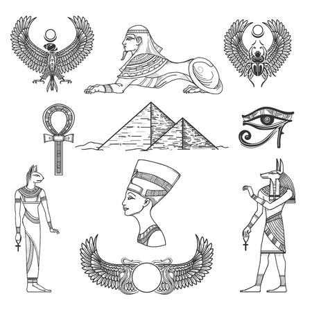 ojo de horus: Egipto símbolos cultura, icono el carácter, la pirámide antigua, ilustración vectorial