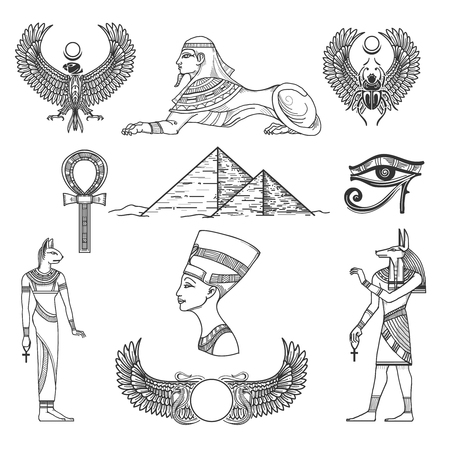 ancient egyptian culture: Egypt symbols culture, icon character, antique pyramid, vector illustration