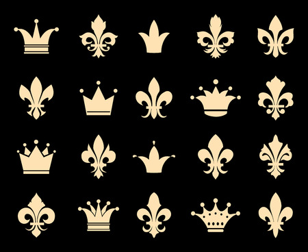 lis: Crown and fleur de lis icons. Symbol insignia, royal antique heraldic decoration, vector illustration