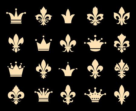 symbol fleur de lis: Crown and fleur de lis icons. Symbol insignia, royal antique heraldic decoration, vector illustration