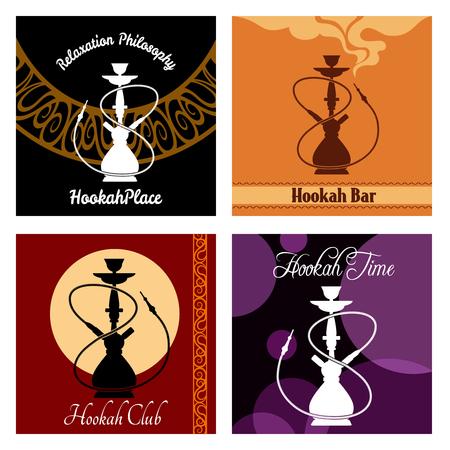shisha: Hookah bar menu poster set. Cafe and smoke, bar lounge, shisha and pipe, vector illustration