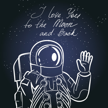 spacesuit: Spaceman, astronaut. Vintage typography hand drawn illustration. Man in spacesuit, cosmonaut in helmet. Vector illustration