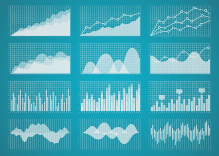 graph trend: Graphs and charts set. Statistic and data, information  infographic, vector illustration