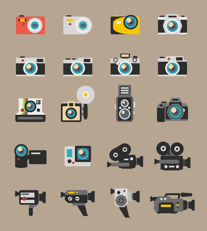 video camera: Photo and video camera flat icons. Digital photography technology, lens equipment, polaroid vector illustration