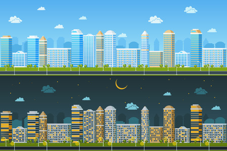 landscape architecture: Day and night urban landscape. Building architecture, cityscape town, vector illustration