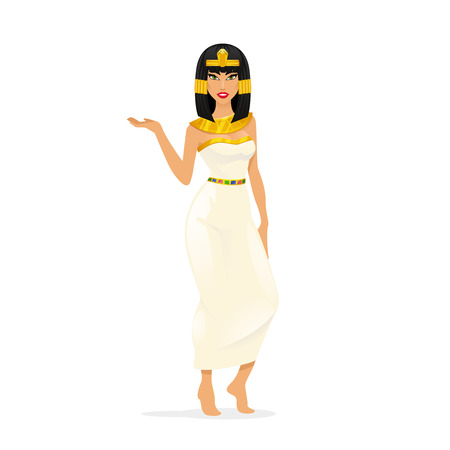 sexy young woman: Egypt Queen Cleopatra. Woman portrait, attractive sexy person. Vector illustration