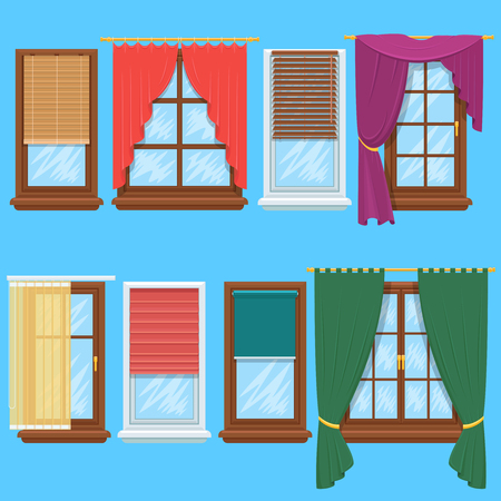 Window curtains and blinds set. Jalousie for house or creative home interior, vector illustration Vettoriali