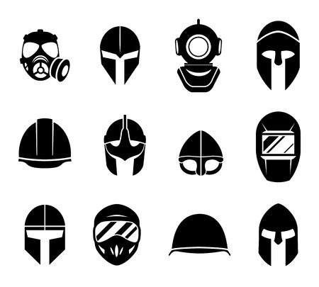 respirator: Helmets and masks icons. Safety protection, equipment protective head, military headgear hat, vector illustration