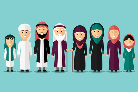 saudi: Arab family. Flat muslim characters. People traditional islam culture, man and woman, vector illustration Illustration