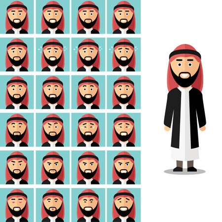 hombre: Enfrentarse a las emociones del hombre árabe. Árabe musulmán triste o enojado, expresión avatar sensación de ilustración. Vector conjunto de estilo plano Vectores