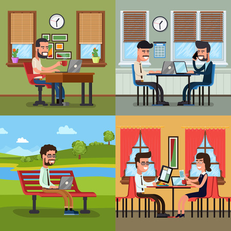 various: Business people working in various workplace. Office work, teamwork occupation, vector illustration