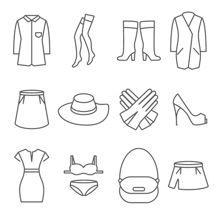 fashion collection: Female clothes line icons set. Fashion clothing collection, dress shoe skirt, vector illustration Illustration