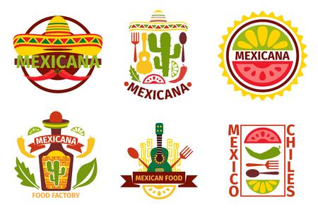 メキシコ料理のロゴ、ラベル、エンブレム、バッジのセットです。 ソンブレロとテキーラのボトルをギター要素、ベクトル イラスト。メキシコ料理