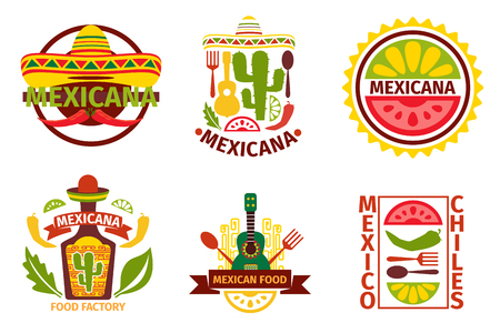 logos restaurantes: Logo comida mexicana, etiquetas, emblemas y distintivos establecidos. Sombrero y una botella de tequila, elemento guitarra, ilustración vectorial. Insignias vector alimentos mexicanos y etiquetas de vectores de comida mexicana