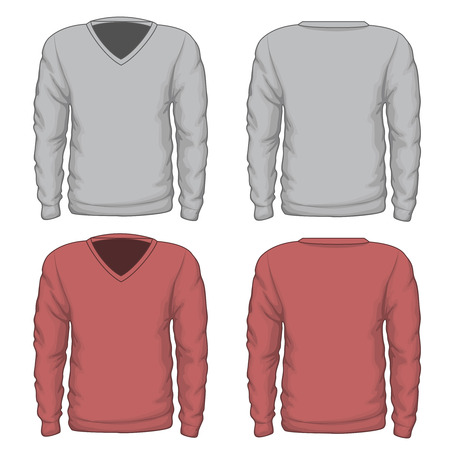 v neck: Casual mens v-neck sweatshirt. Fashion wear, clothing textile, vector illustration. V-neck vector sweatshirt or vector mens sweatshirt