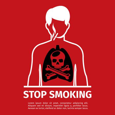 habit: No Smoking poster. Smoking man with skull and cross bones. Forbidden smoker, habit and addiction, vector illustration. No Smoking sign or stop smoking sign Illustration