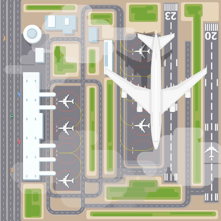 terminal: Airport landing strips top view. Aircraft and airplane, arrival, transport airline. Airport landing vector illustration