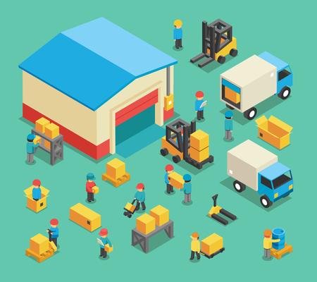 Isométrica movimiento de carga y almacenamiento empleados. depósito de almacenamiento, logística de transporte, la industria y equipos de almacén. Almacenamiento y empleados almacenaje ilustración vectorial